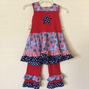 Ann Loren Girls Patriotic Dress & Capris Size 7/8